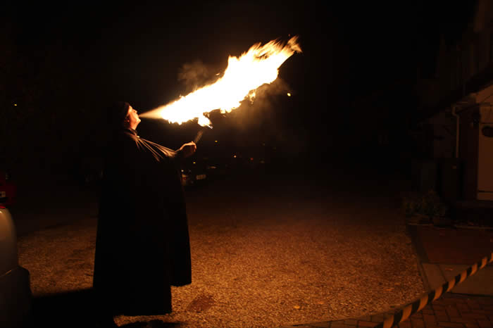 Fire breathing in Essex for Halloween party in Chelmsford with the Fire Breather