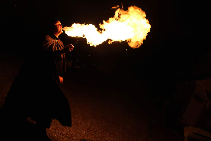 Flames from the Essex based Fire Breather at a Halloween Party in Chelmsford
