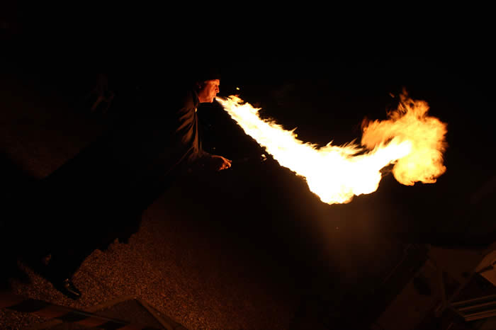 Flames may be long or short and singe or multiple by the Fire Breather
